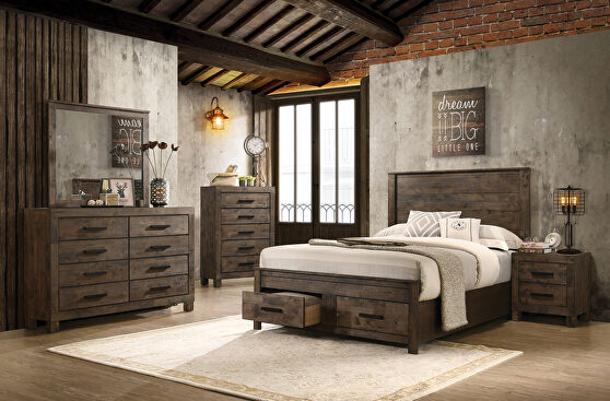 Rustic golden brown e king bed