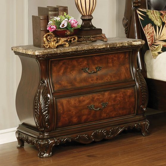 Traditional carved wood / marble top night stand