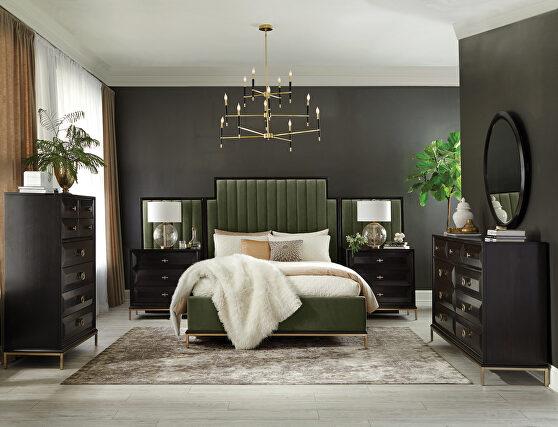 Dark moss velvet upholstery queen bed