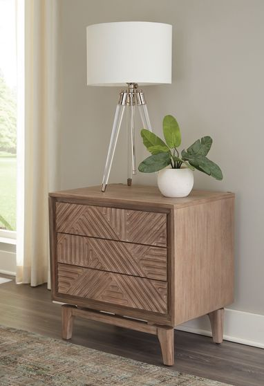 Night stand in natural sandstone wood