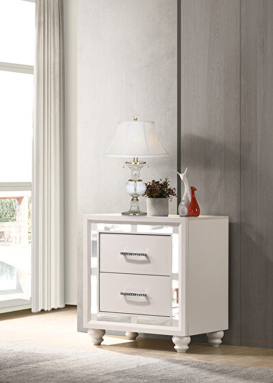 White and silver finish nightstand