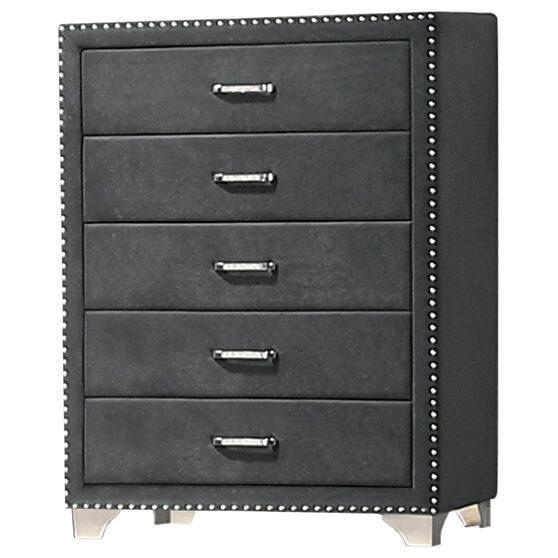 Gray matte velvet upholstery chest