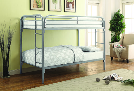 Twin-over-twin silver bunk bed