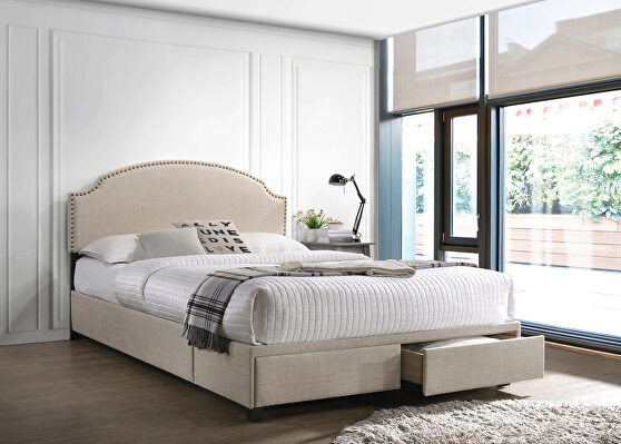 Full storage bed upholstered in a beige fabric
