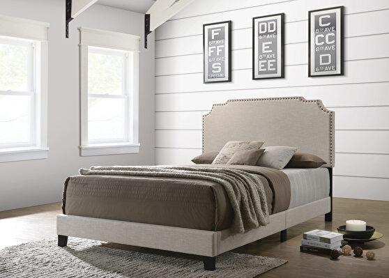 Beige fabric full bed