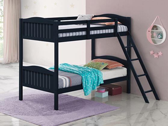 Blue wood finish twin/twin bunk bed