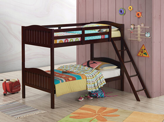 Espresso wood finish twin/twin bunk bed