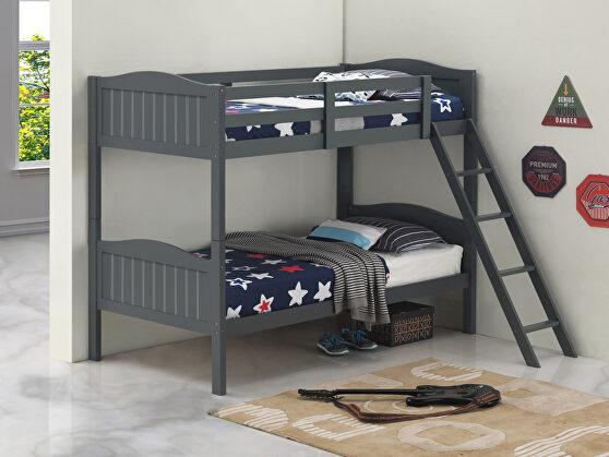 Gray wood finish twin/twin bunk bed