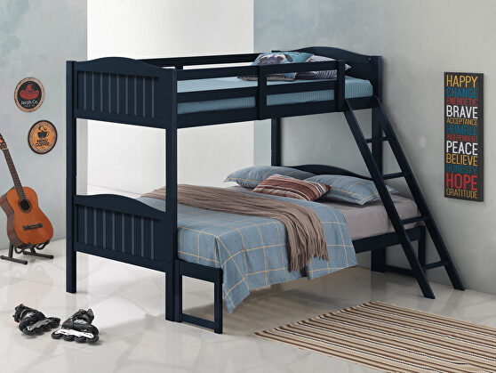 Blue wood finish twin/full bunk bed