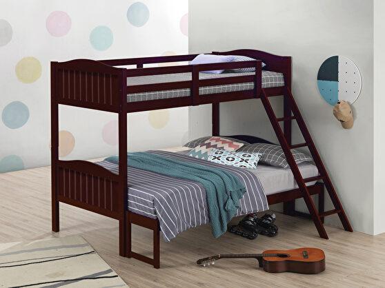 Espresso wood finish twin/full bunk bed