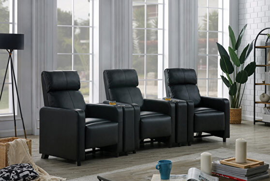 5 pc 3-seater home theater in black leatherette