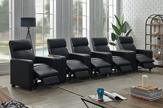 9 pc 5-seater home theater upholstered in black leatherette
