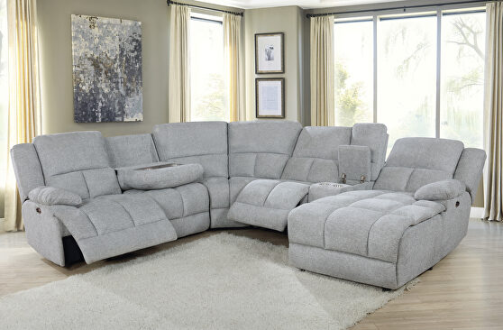 Six-piece modular power motion sectional upholstered in a gray performance-grade fabric