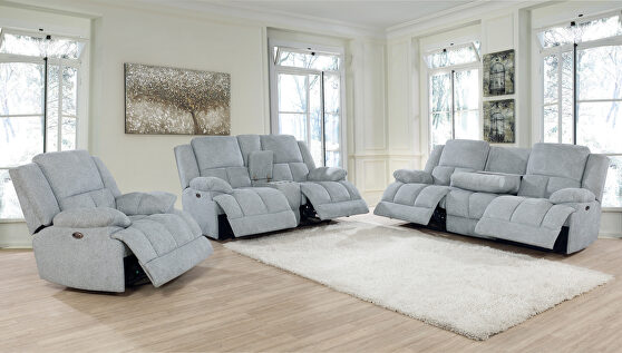 Power motion sofa upholstered in gray performance fabric