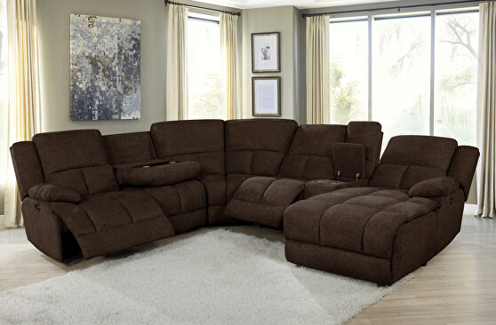 Six-piece modular power motion sectional upholstered in a brown performance-grade fabric