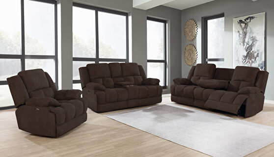 Power motion sofa upholstered in brown performance fabric