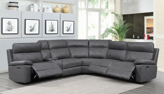 6 pc power2 sectional in gray breathable leatherette