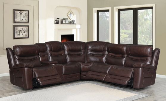 6 pc power2 sectional in brown leather / pvc