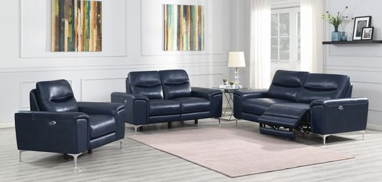 Power sofa in ink blue leather / pvc