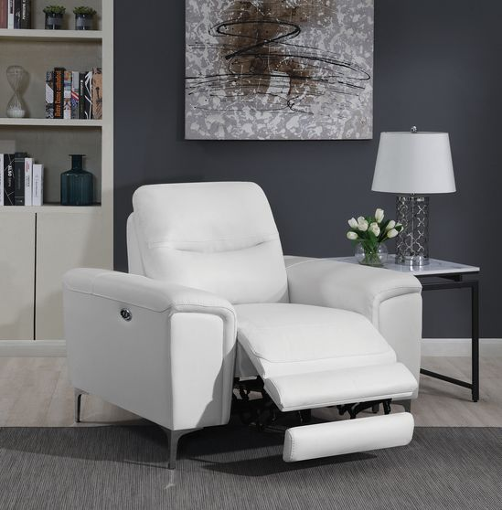 Power recliner chair in white top grain leather / pvc