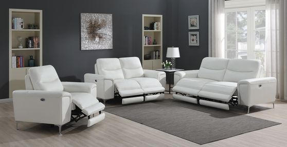 Power sofa in white leather / pvc