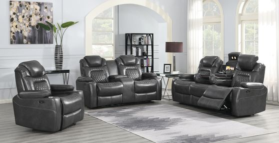 Power2 sofa in charcoal gray top grain leather