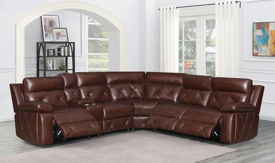 6 pc power2 sectional in chocolate leather / pvc