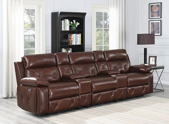 5 pc power2 home theater in chocolate brown top grain leather