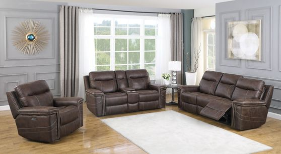 Power2 sofa in brown performance suede