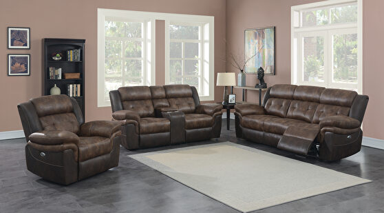 Power motion sofa in chocolate and dark brown exterior