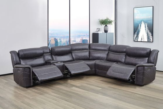 6 pc power2 sectional in charcoal faux suede