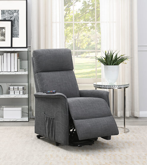 Power lift massage chair in charcoal