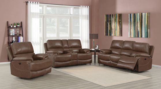 Chocolate brown top grain leather power2 recliner sofa