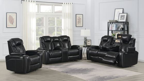Stylish power2 sofa in black top grain leather / pvc