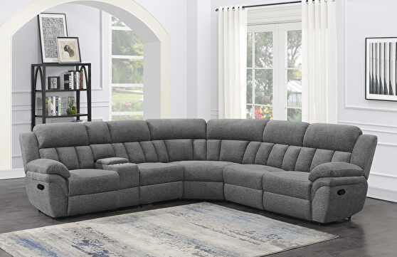 Six-piece modular power motion sectional upholstered in charcoal performance-grade chenille