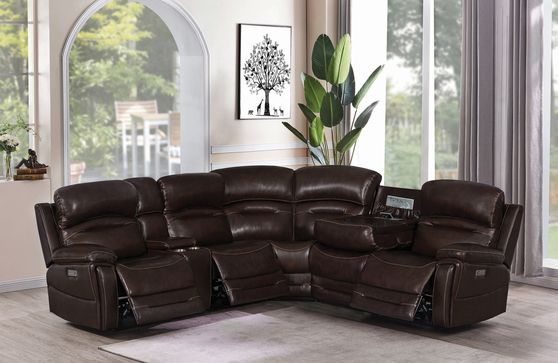6 pc power3 sectional sofa in dark brown leather/pvc