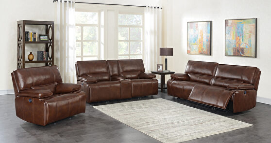 Power motion sofa upholstered in saddle brown top grain leather