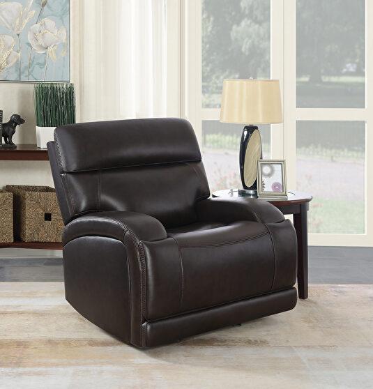 Power glider recliner upholstered in dark brown top grain leather