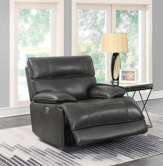 Casual charcoal power glider recliner
