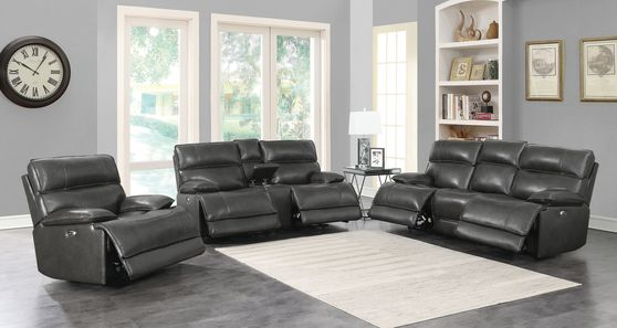 Casual charcoal leather/pvc power sofa