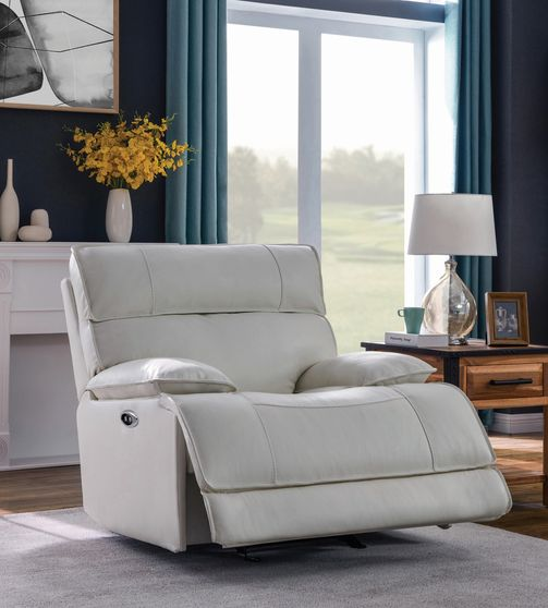 Power glider recliner in white top grain leather / pvc