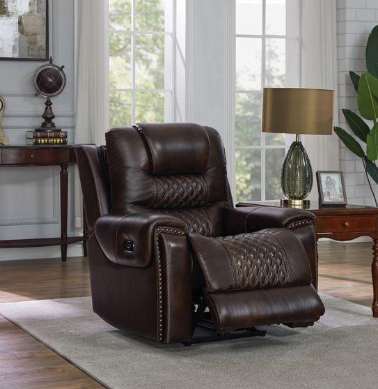 Dark brown top grain leather recliner chair