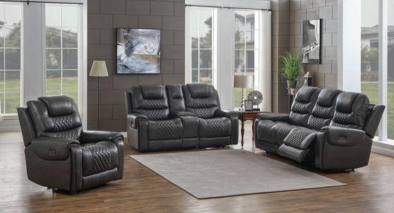 Dark charcoal gray top grain leather recliner sofa