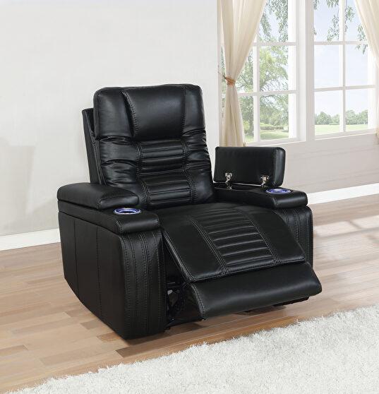 Power2 recliner upholstered in black performance-grade leatherette