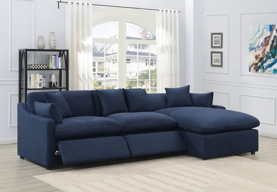 Navy blue linen-like fabric recliner 3pcs sectional