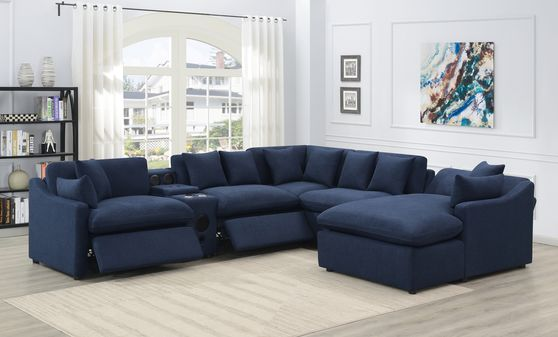 Navy blue linen-like fabric 6pcs recliner sectional