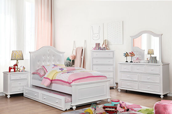 Button tufted white finish twin bed