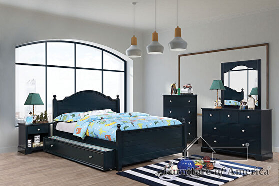 Transitional style blue finish twin bed