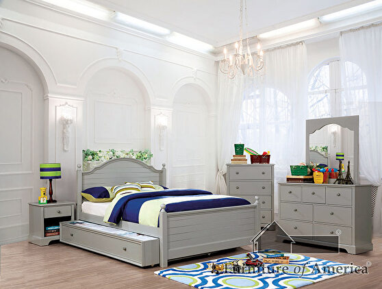 Transitional style gray finish twin bed