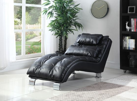 Black leather like vinyl chaise lounger